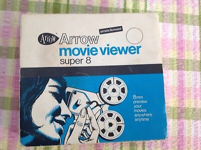 Arrow Movie Viewer For Super 8 mm Film. Light And Portable Vintage
