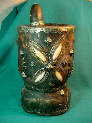 """Heavily Decorated AFRICAN Vintage used WOOD & BRASS & BONE 10"""" MORTAR and PESTLE"""