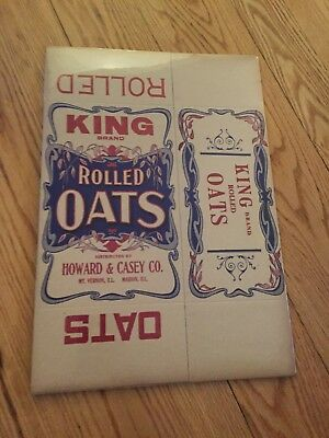 SCARCE—NOS King Brand Rolled Oats Box Flat
