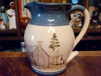 """1994 WINTON ROSA Eugene ART POTTERY 8"""" PITCHER Jug COUNTRY CABIN Cowpens SC"""