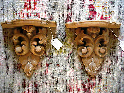 Antique Carved Wall Shelf Sconces, Pair of Antique English Architectural Sconces