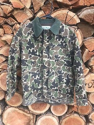 Vintage LL Bean Camouflage Camo Duck Hunting Jacket Coat Size 40 USA Made