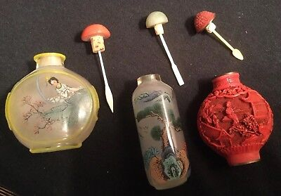 3 Vintage Snuff Bottles With Spoons, 1 Cinnabar, 2 Reverse Painted