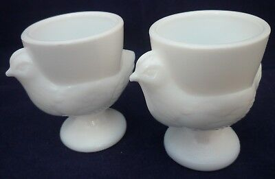 VINTAGE MILK GLASS EGG CUPS x 2 ~ CHICKEN/HEN ~ MADE IN FRANCE