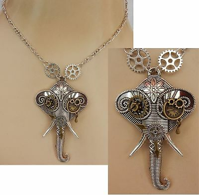 Steampunk Necklace Elephant Silver Pendant Cosplay Handmade NEW Fashion Chain