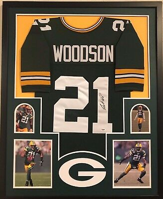 d78487ea9 Framed Greenbay Packers Charles Woodson Autographed Signed Jersey Psa Coa