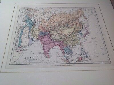 Fantastic Original Antique Map Mounted 1890s Asia Edward Stanford