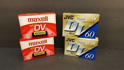 JVC Maxell Mini DV 60 90 Minute Camcorder Tapes New Sealed Lot of 4