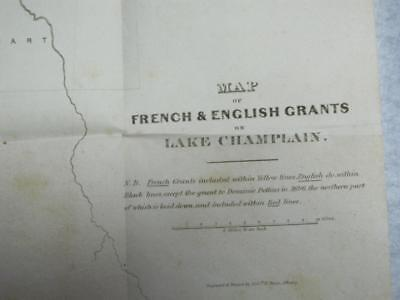 """MAP of French & English Grants on Lake Champlain 2 Seigniorys  12.5"""" x 22"""""""