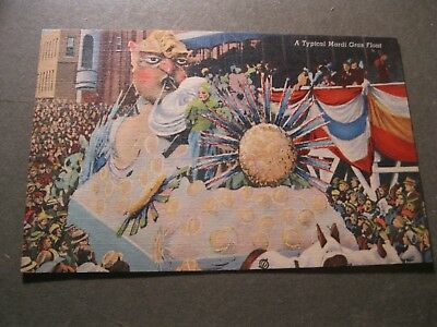 Vintage Old Linen Postcard Typical Mardi Gras Float New Orleans Louisiana
