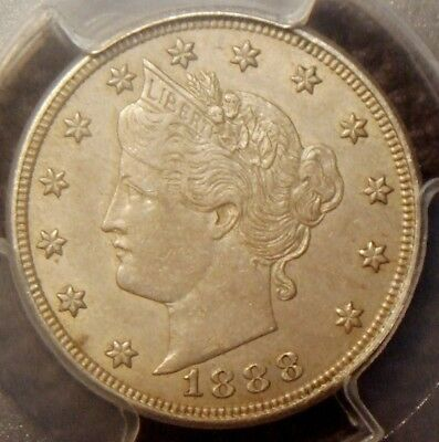 1888 Liberty V Nickel, Awesome Detail,  Pcgs Graded Au55