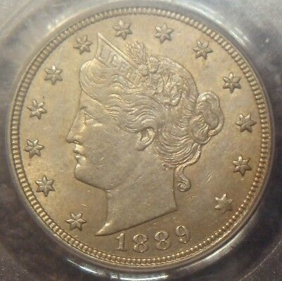 1889 Liberty V Nickel, Awesome Detail,  Pcgs Graded Au55