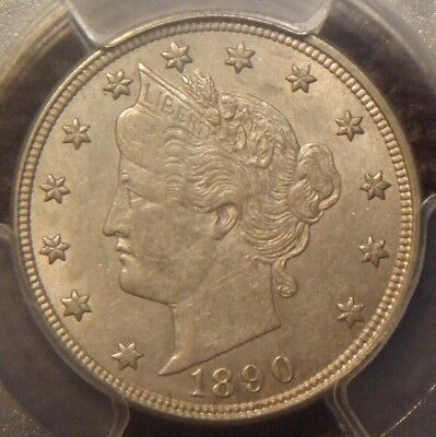 1890 Liberty V Nickel, Awesome Detail,  Pcgs Graded Au55