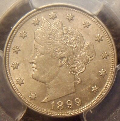 1899 Liberty V Nickel, Awesome Detail,  Pcgs Graded Au55