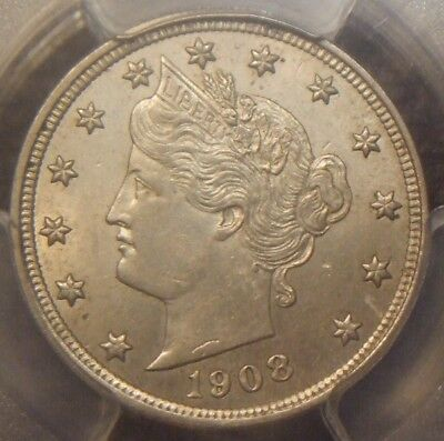 1908 Liberty V Nickel, Awesome Detail,  Pcgs Graded Au58