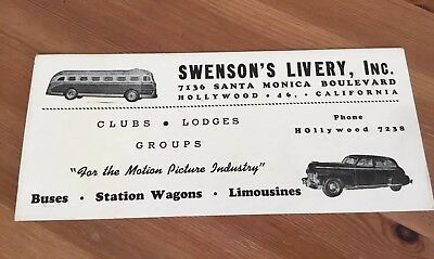 """Vintage SWENSON'S LIVERY, INC - """"FOR THE MOTION PICTURE INDUSTRY"""" HOLLYWOOD CA"""