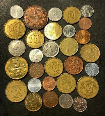 Old Finland Coin Lot - 1907-Present - 30 Great Coins - Lot #N11