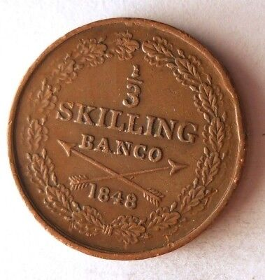 1848 SWEDEN 1/3 SKILLING - AU - Very Rare Type - High Value Coin - Lot #N11