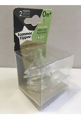 Tommee Tippee Closer To Nature Slow Flow Nipple 2 count ~ 0m+ BPA FREE NIB