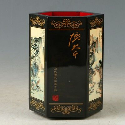Chinese Wooden Handmade landscape Pencil Brush Pot MY0983