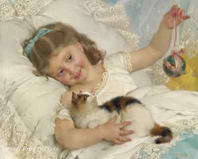 Girl Playing with a Kitten by Emile Munier - Child Calico Cat Bed 8x10 Print 399