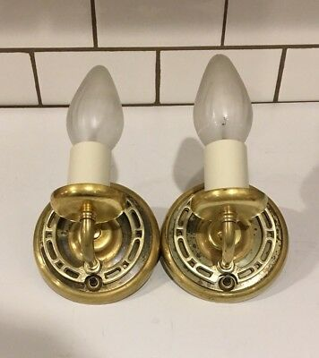 Early art-deco small raw brass sconces in beautiful condition 4D