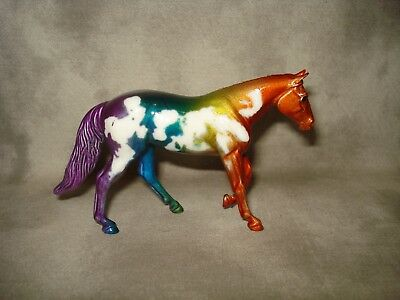 Breyer CM Glossy Decorator Rainbow Dungaree Pinto Stablemate