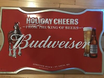 Budweiser Holiday Tin Tacker Sign. Man Cave. Dad Gifts. Rare. Clydesdale Horses.