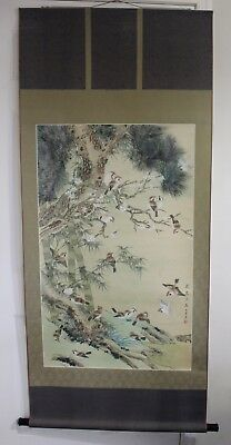 Chinese Water Color Hand Painting On Silk Scroll