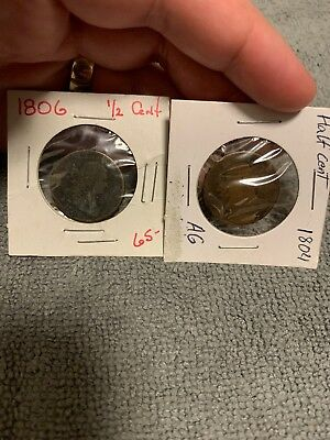 1804 And 1806 Half Cent Lot Of 2