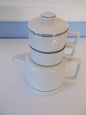 Vintage Toscany Collection Duo Teapot with 2 Stackable Cups Set - Made in Japan