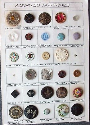 Mixed Lot Vintage Buttons Collector Card