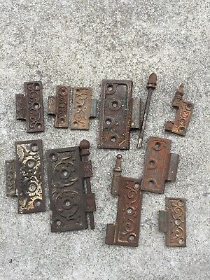 Estate Lot Of Iron Antique Victorian Eastlake Door Hinges Hinge Hardware