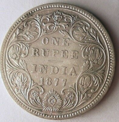 1877 BRITISH INDIA RUPEE - EXCELLENT High Value Silver Crown Coin - Lot N11