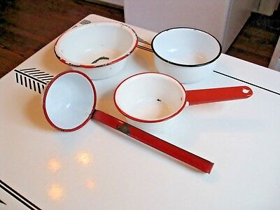 Lot 4 Vintage Enamel Metal Pans, Saucepan & Ladle ~ White w Red & Black Rims