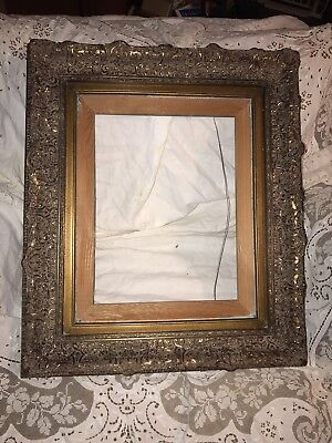 "Large Vintage Wood Gilt Gold /Bronze Gesso Picture Frame Ornate 24""x 28"""