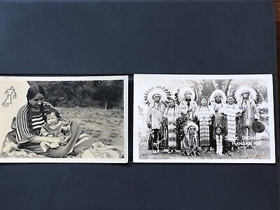 Vintage Real Photo Postcard Of Sioux Indian Group In Headdress. Sioux Women Baby