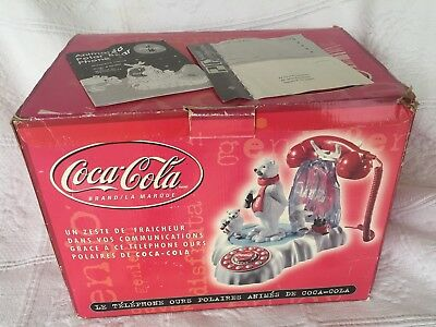 Vtg Coca Cola Animated Light Up Polar Bear Telephone In Box