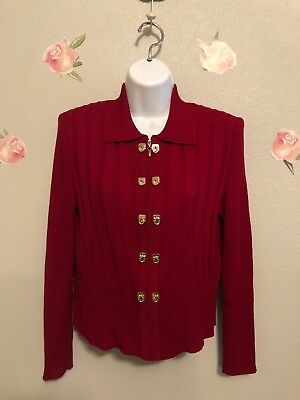 Beautiful St. John Collection by Marie Gray Red Jacket Sweater Size 4