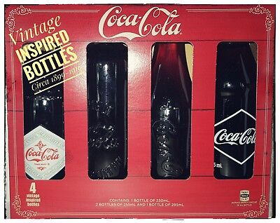 2017 Vintage Coca cola inspired Bottles set of 4 bottles Circa 1899-1916 classic