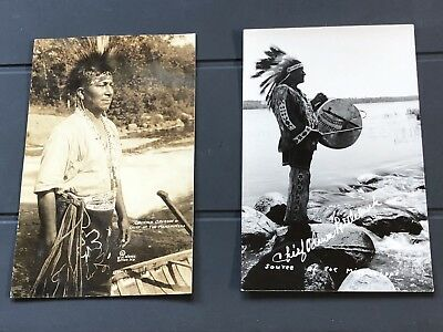 Vintage Real Photo Postcard Native Two American Indians From Chinaware And Menom
