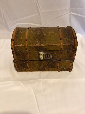 Awesome Vintage Alligator Skin Music Box Trunk Chest Works with Slide out Drawer