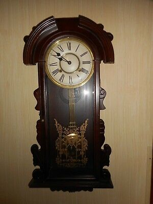 Vintage Large Regulator Pendulum Key Wound Chime Clock - Works Great!