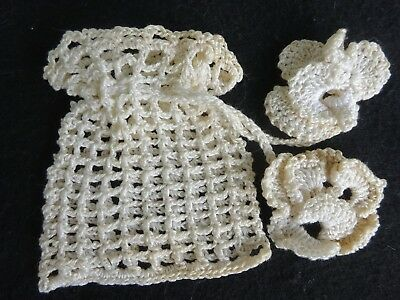 Antique Victorian Handmade Crochet Coin Money Purse Drawstring Floral Pansy Ties