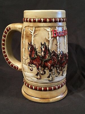 Budweiser 1981 Clydesdale Snowy Woodlands Cs50 Birch Tree Stein
