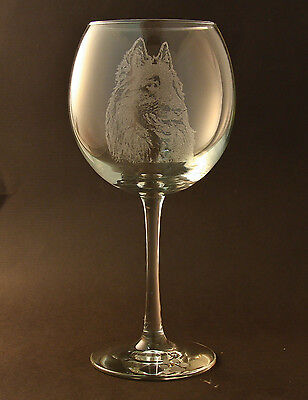 Etched Belgian Tervuren on Large Elegant Wine Glasses - Set of 2