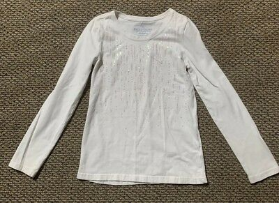 Faded Glory Girls White Long Sleeve Top Size M (7-8)