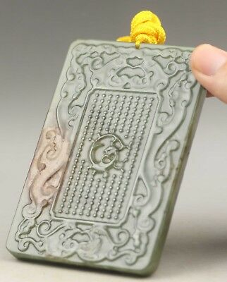Chinese old natural hetian jade hand-carved dragon pendant 4.3 inch