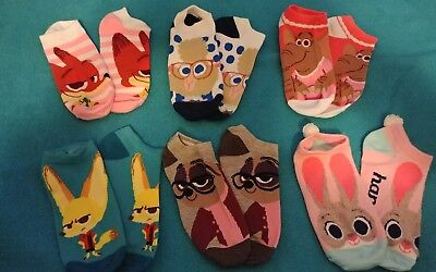 """Girl's  """"ZOOTOPIA""""  6 Pairs  No-Show SOCKS FITS SIZE  M/L  3 - 10  NWT"""