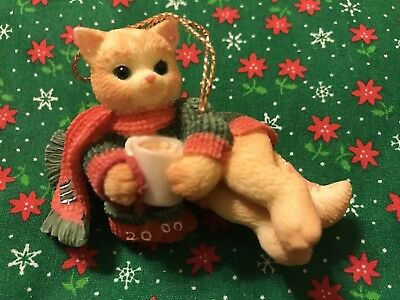 """Enesco Calico Kitten """"Cat With Scarf"""" Ornament Dated 2000"""